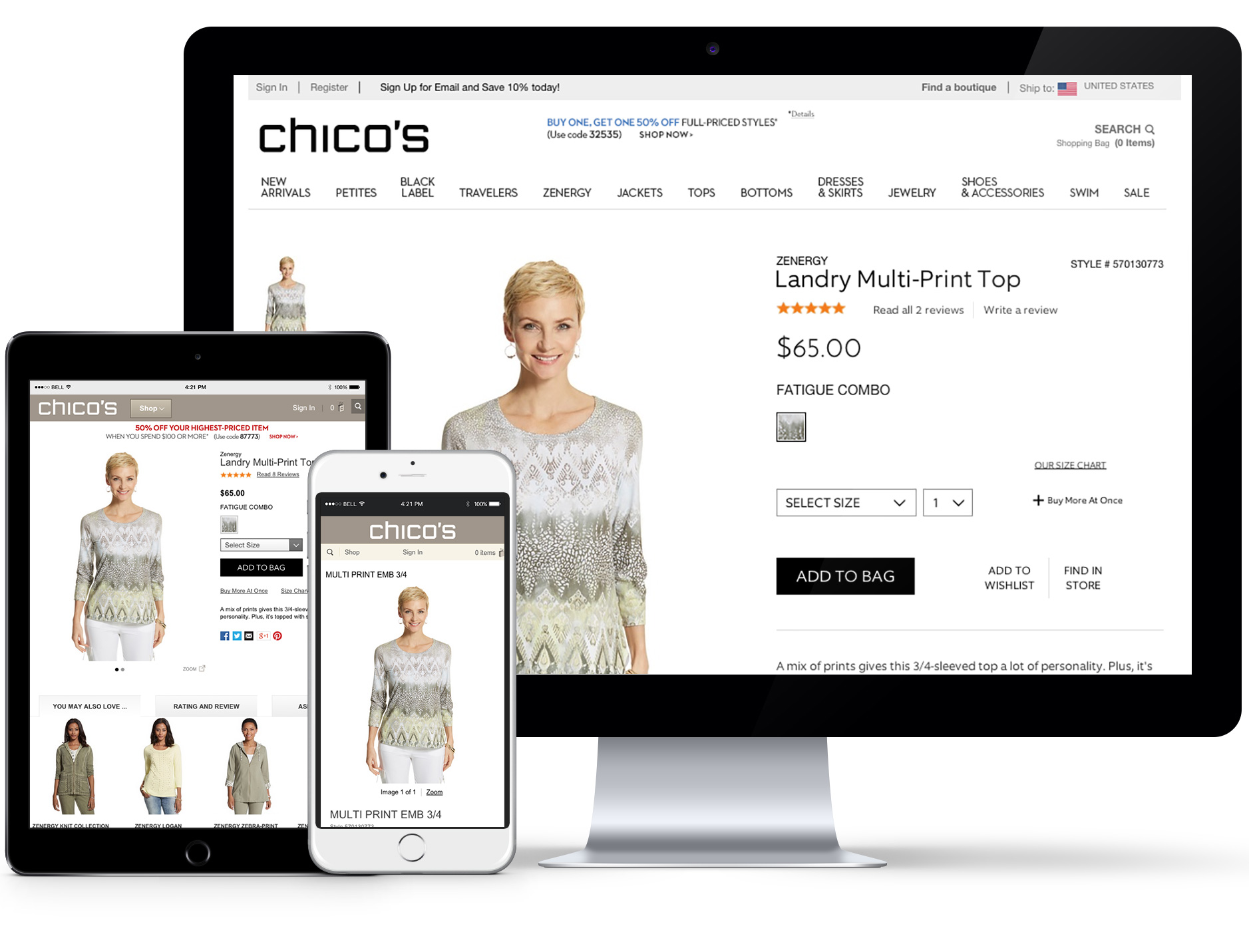 Chico's original product detail page on all devices